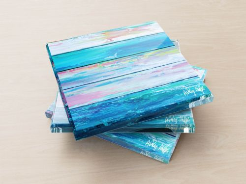 Weathered Paint Blue - Glass Coasters